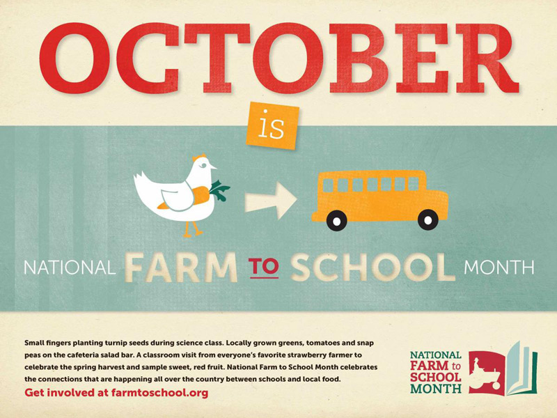 Poster advertising October as 'National Farm to School Month'