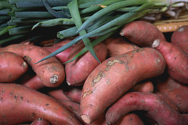 Photo of sweet potatoes at the Farmer's Market